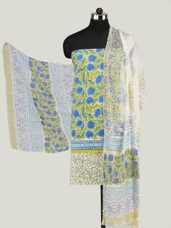 Olive Green White Blue Hand Block Printed Cotton Suit-Salwar Fabric With Chiffon Dupatta (Set of 3) - SU01HB441
