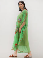 Parrot Green Multicolor Aari Embroidered Kashmere Free Size Georgette Kaftan  - K12K018