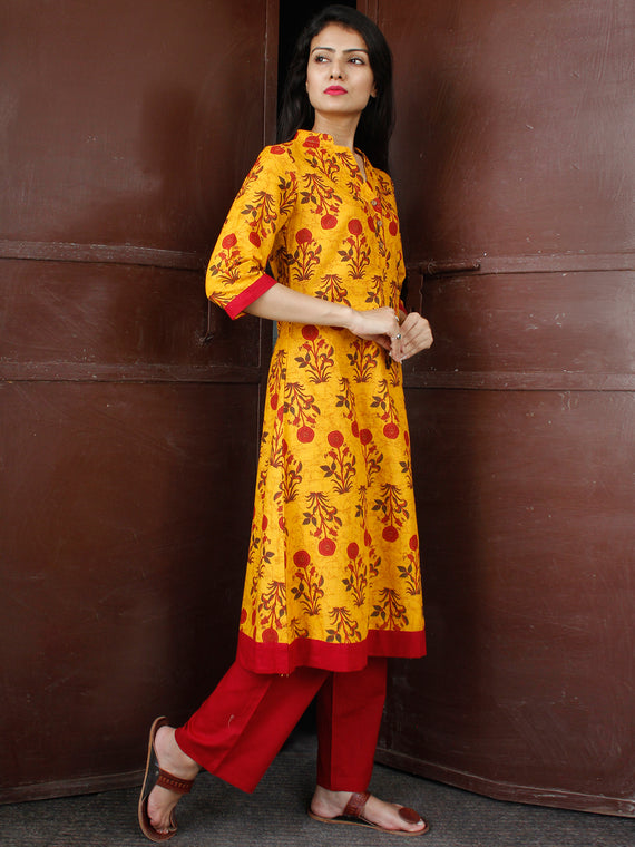 Mustard Yellow Maroon Cotton Block Printed Kurta & Pants - Set of 2 - SS01F046