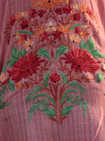 Pink Rust Green Orange Aari Embroidered Short Kashmere Kaftan  - K11K035