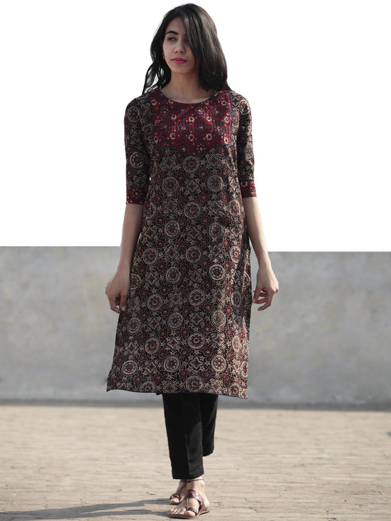Black Maroon Cherry Red Hand Block Printed Ajrakh Kurta With Pintuck  - K39F1202