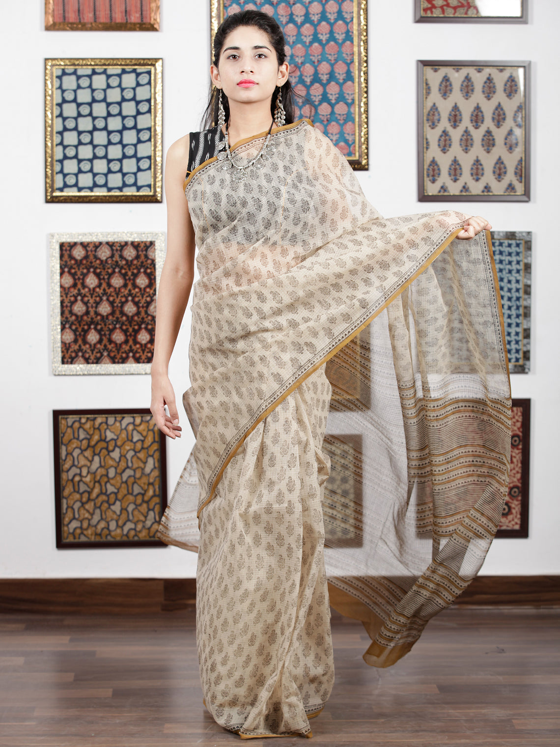 Beige Brown Black Hand Block Printed Kota Doria Saree in Natural Colors - S031703104