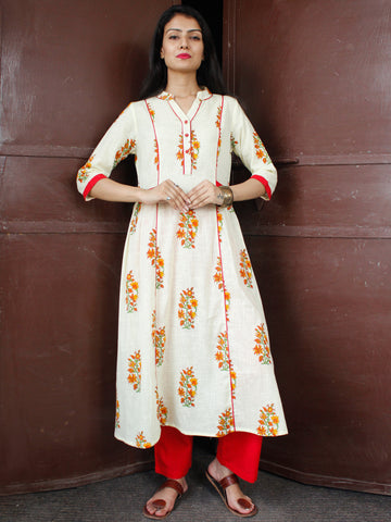 OffWhite Red Orange Cotton Block Printed Suit - Set of 2 - SS01F047