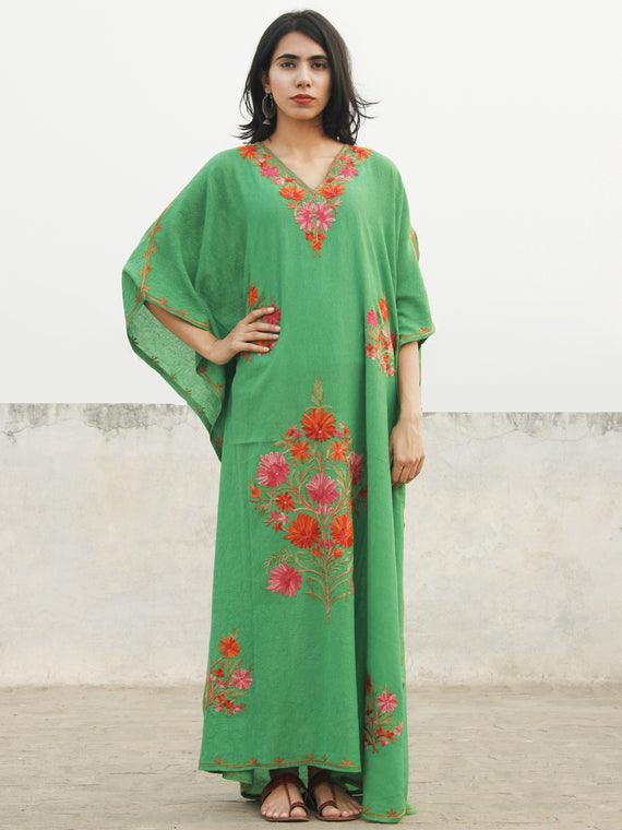 Green Rust Orange Aari Embroidered Long Kashmere Free Size Kaftan in Crushed Cotton - K11K023
