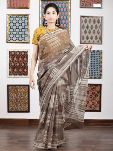 Kashish Ivory Hand Block Printed & Hand Painted Kota Doria Saree in Natural Colors - S031703105
