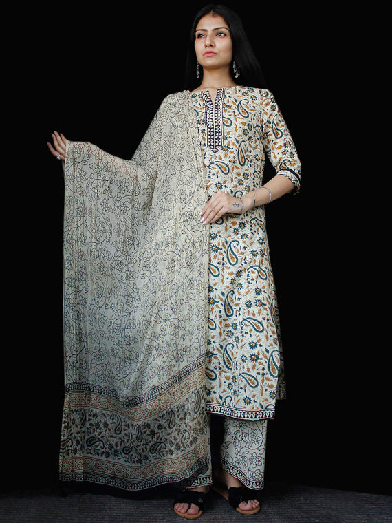 Beige Brown Blue Cotton Block Printed Suit - Set of 3 - SS01F024