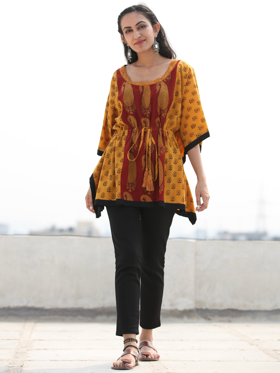 Yellow Rust Bagh Hand Block Printed Short Kaftan - K134F2097