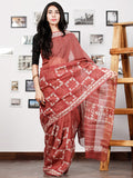 Onion Pink White Hand Block Printed Kota Doria Saree in Natural Colors - S031702871
