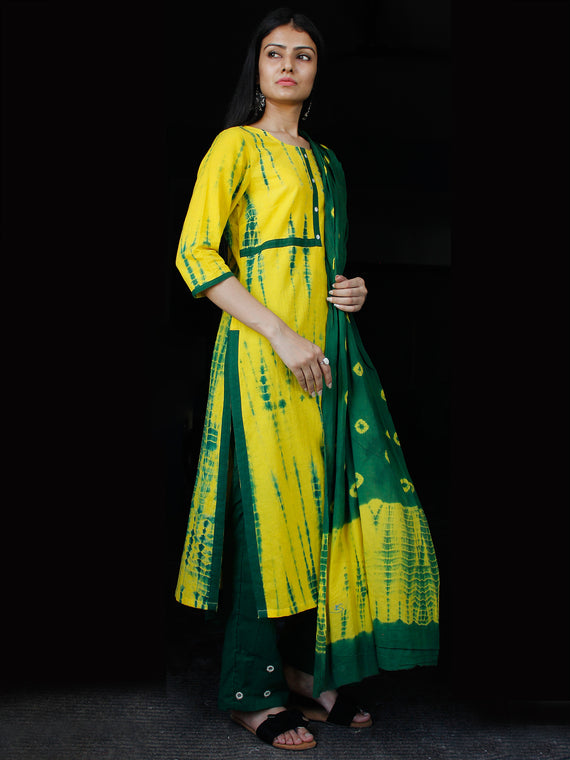 Green Yellow Cotton Block Printed Suit - Set of 3 - SS01F025