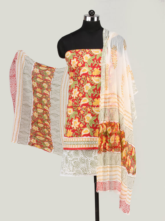Red Yellow Green Hand Block Printed Cotton Suit-Salwar Fabric With Chiffon Dupatta (Set of 3) - SU01HB446