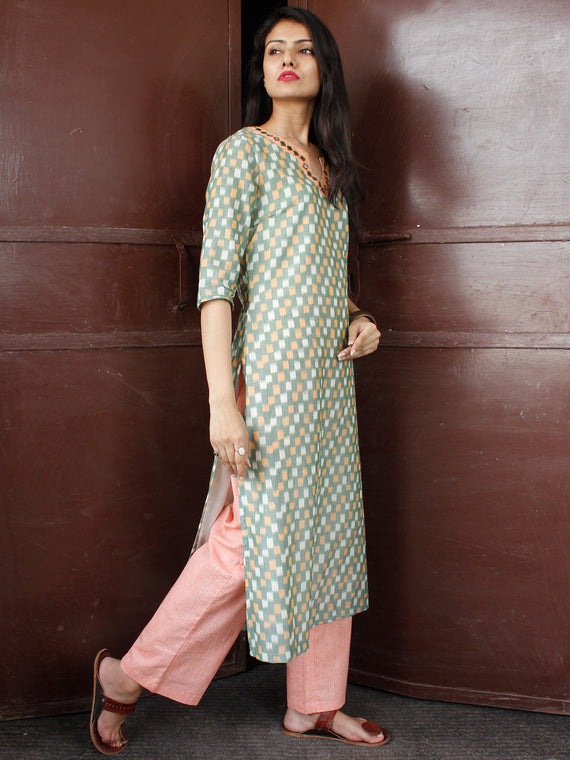 Sage Green Peach Silk Cotton Ikat Mirror Work Kurta & Pants (Set of 2) - SS01F1742