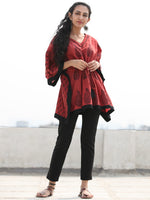 Crimson Red Black Bagh Hand Block Printed Short Kaftan - K139F2090