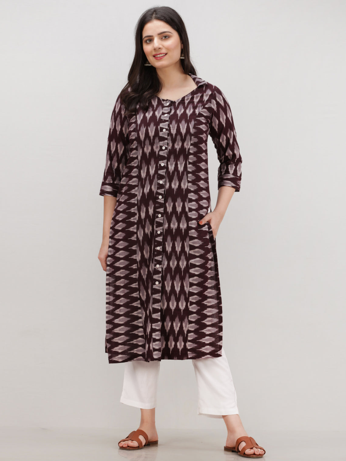 Tagai Sahat - Set of Ikat Kurta & Pants  - KS123A2433