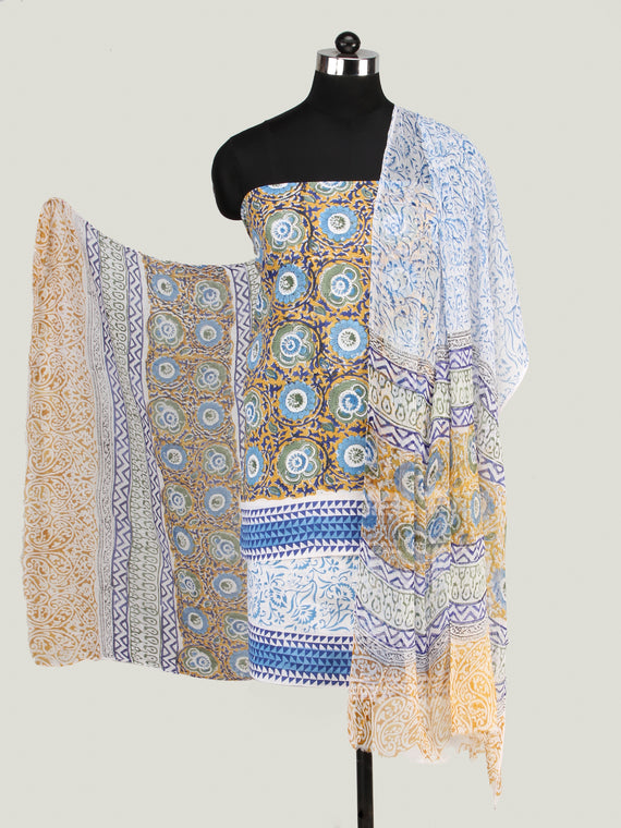 Mustard Blue White Hand Block Printed Cotton Suit-Salwar Fabric With Chiffon Dupatta (Set of 3) - SU01HB445