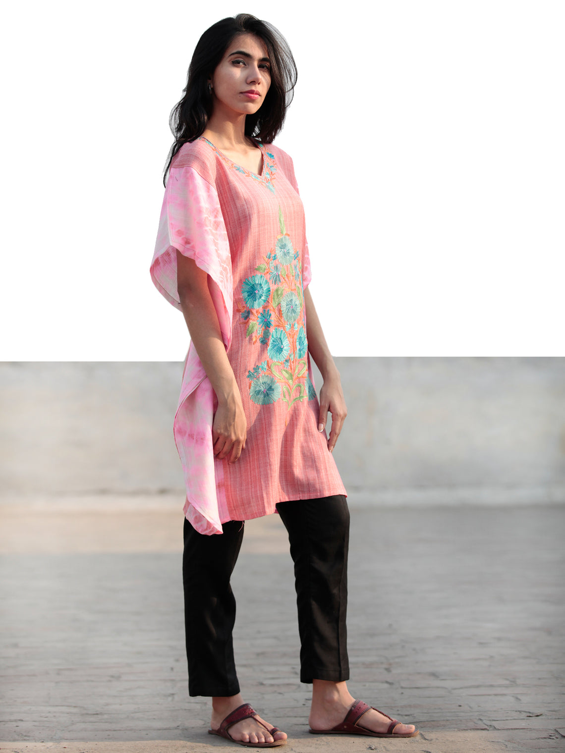 Pink Blue Green Orange Aari Embroidered Short Kashmere Kaftan  - K11K039