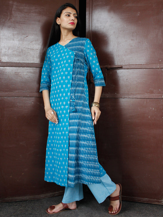 Sky Blue Turquoise Silk Cotton Ikat Angrakha Kurta & Pants (Set of 2) - SS0f1753