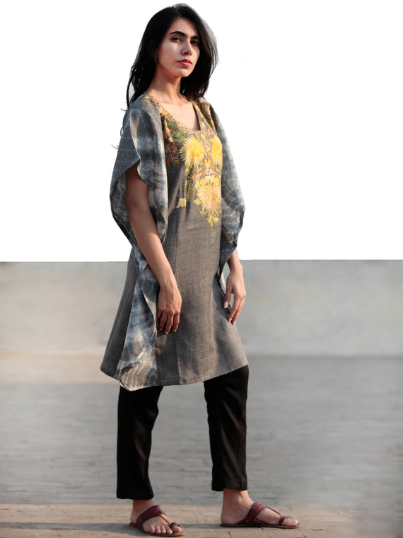 Grey Yellow Green Aari Embroidered Short Kashmere Kaftan  - K11K040