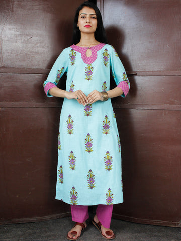 Sky Blue Onion Pink Green Cotton Block Printed Suit - Set of 2 - SS01F050