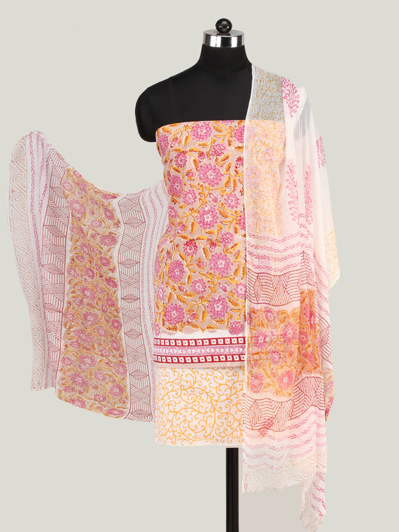 Beige Pink White Hand Block Printed Cotton Suit-Salwar Fabric With Chiffon Dupatta (Set of 3) - SU01HB450