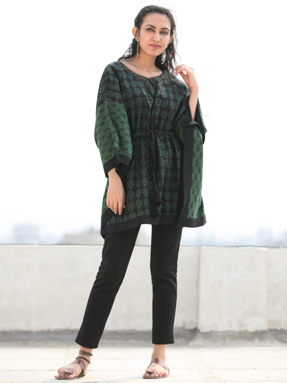 Bottle Green Black Bagh Hand Block Printed Short Kaftan - K136F2070