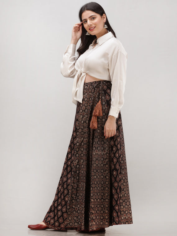 Black Maroon Ajrakh Hand Block Printed Wrap Around Skirt With Kali  - S402BP151