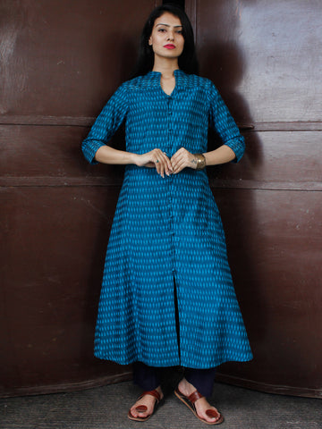 Turquoise Blue Sky Blue Pochampally Hand Woven Mercerised Ikat Cotton Suit With Golden Zari Embroidery  - Set of 2  - SS01F053