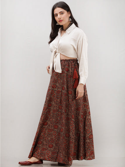 Brown Maroon Ajrakh Hand Block Printed Wrap Around Skirt  - S402BP29