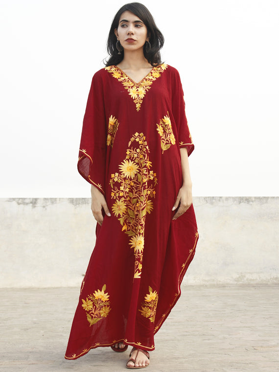 Maroon Golden yellow Aari Embroidered Long Kashmere Free Size Kaftan in Crushed Cotton - K11K003
