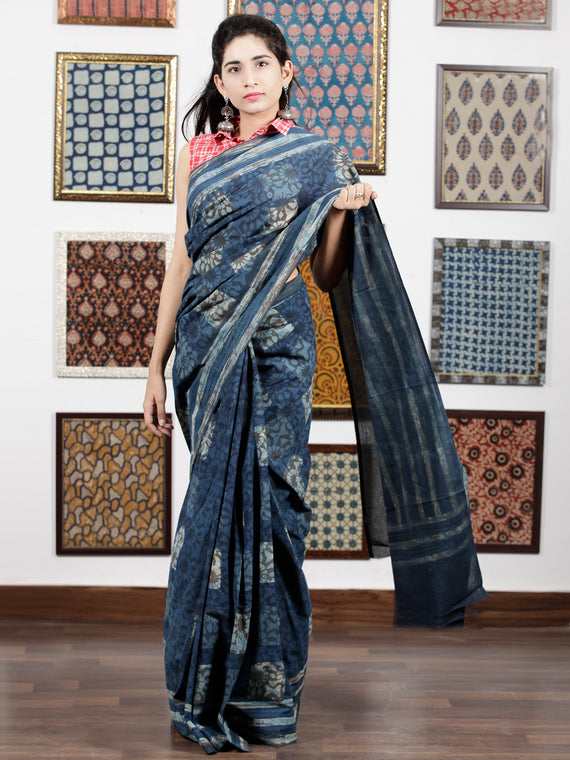 Indigo Grey Ivory Hand Block Printed Cotton Mul Saree - S031703113