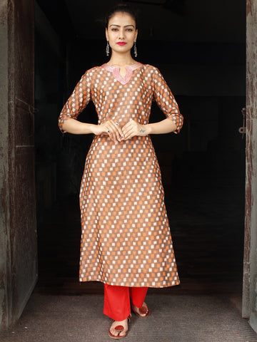 Brown Rust Ivory Red Hand Woven Mercerised Ikat Cotton Kurta & Pants With Embroidery Details - Set of 2  - SS01F1751