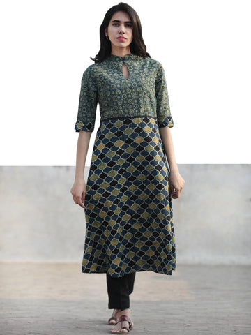 Green Indigo Black Hand Printed Ajrakh Kurta With Stand Collar - K49F1177