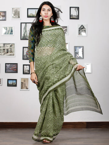 Pastel Moss Green White Hand Block Printed Kota Doria Saree in Natural Colors - S031702887