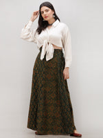 Green Mustard Rust Ajrakh Hand Block Printed Wrap Around Skirt  - S402BP141