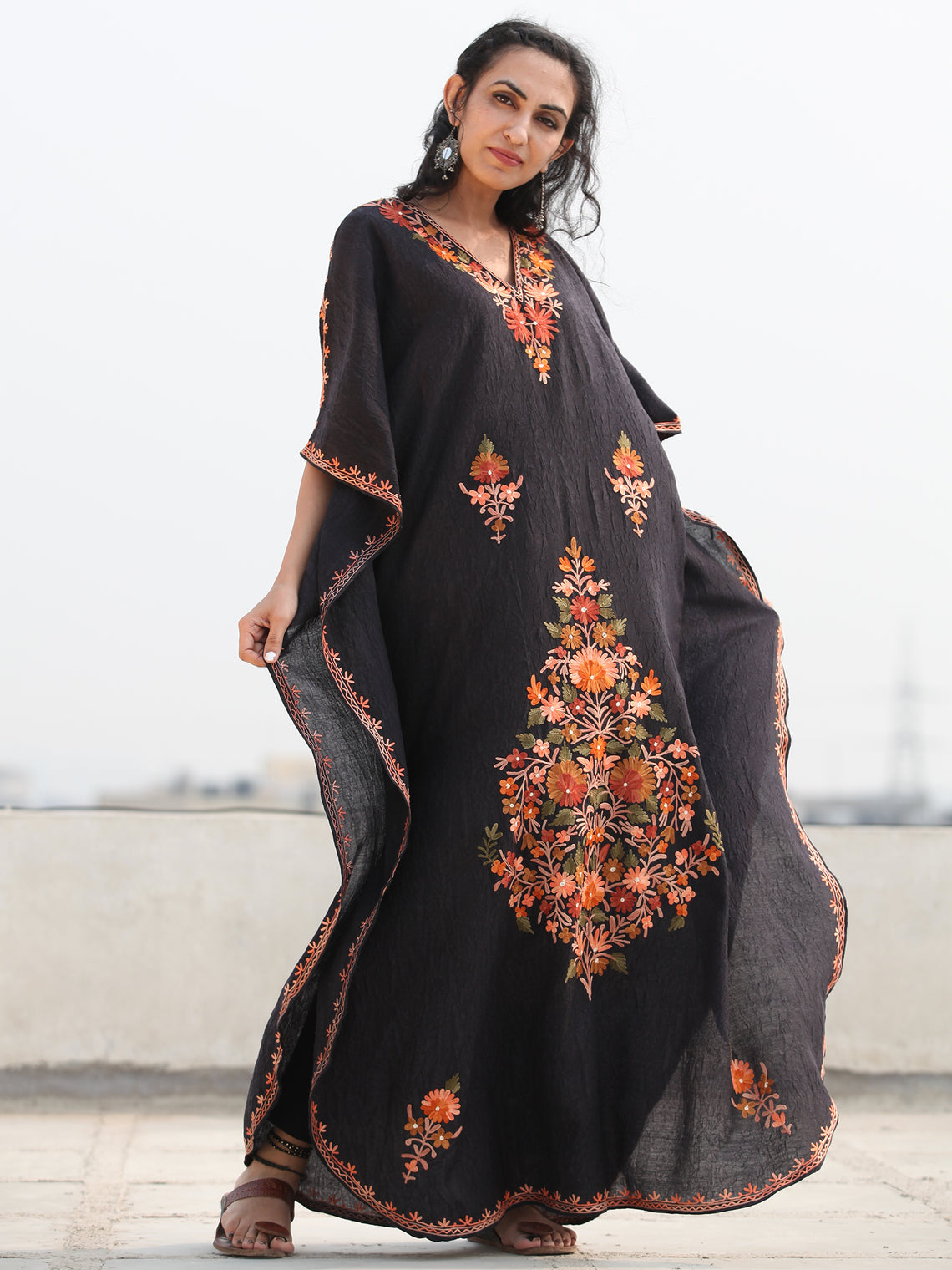 Black Aari Embroidered Kashmere Free Size Kaftan in Crushed Cotton - K11K068