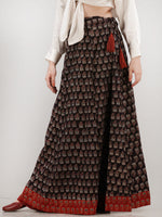 Black Rust Maroon Ajrakh Hand Block Printed Wrap Around Skirt  - S402BP135