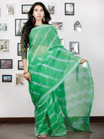 Green White Shibori Hand Block Printed Kota Doria Saree in Natural Colors - S031702877
