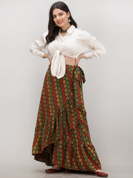 Green Mustard Rust Ajrakh Hand Block Printed Frill Wrap Around Skirt  - S403BP631