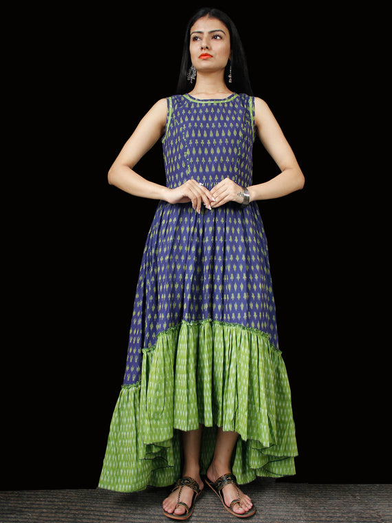 Indigo Green Ivory Hand Woven Ikat Asymmetric Sleeveless Dress - D311F1744