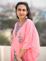 Pink Multicolor Aari Embroidered Kashmere Free Size Kaftan in Crushed Cotton - K11K073