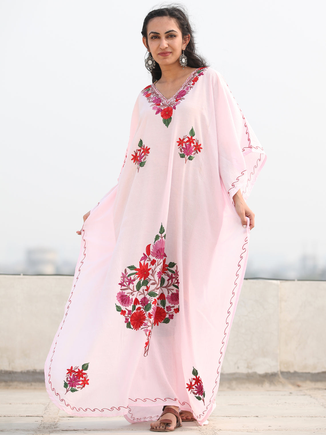 White MultiColor Aari Embroidered Kashmere Free Size Kaftan in Crushed Cotton - K11K074