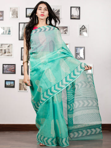 Sea Green White Hand Block Printed Kota Doria Saree in Natural Colors - S031702882