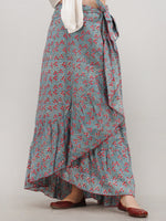 Pink Blue Hand Block Printed Frill Wrap Around Skirt  - S403F2045