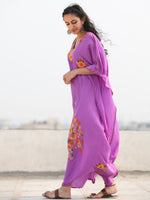 Mauve Multicolor Aari Embroidered Kashmere Free Size Kaftan in Crushed Cotton - K11K075