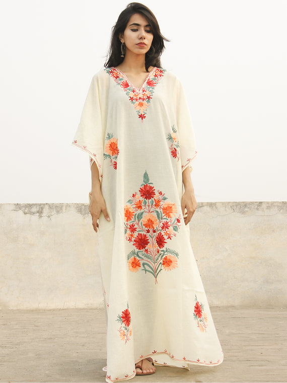Ivory White with Multi Color Aari Embroidered Long Kashmere Free Size Kaftan in Crushed Cotton - K11K004