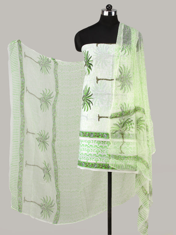 White Green Grey Hand Block Printed Cotton Suit-Salwar Fabric With Chiffon Dupatta (Set of 3) - SU01HB425