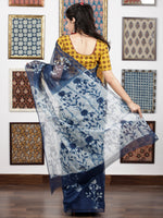 Indigo Ivory Hand Block Printed Kota Doria Saree in Natural Colors - S031703085