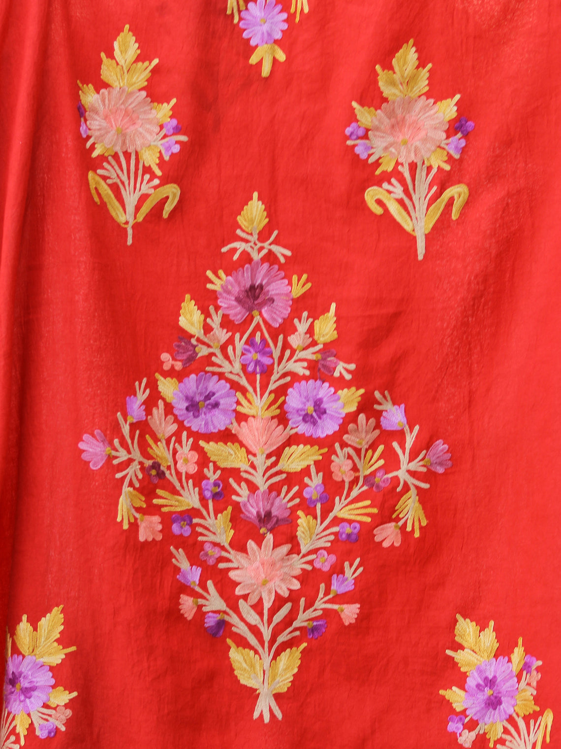 Bright Red Lilac Yellow Aari Embroidered Kashmere Free Size Kaftan in Crushed Cotton - K11K054