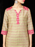 Green Lavender Pink Silk Cotton Ikat Kurta & Pants (Set of 2) - SS01F1272