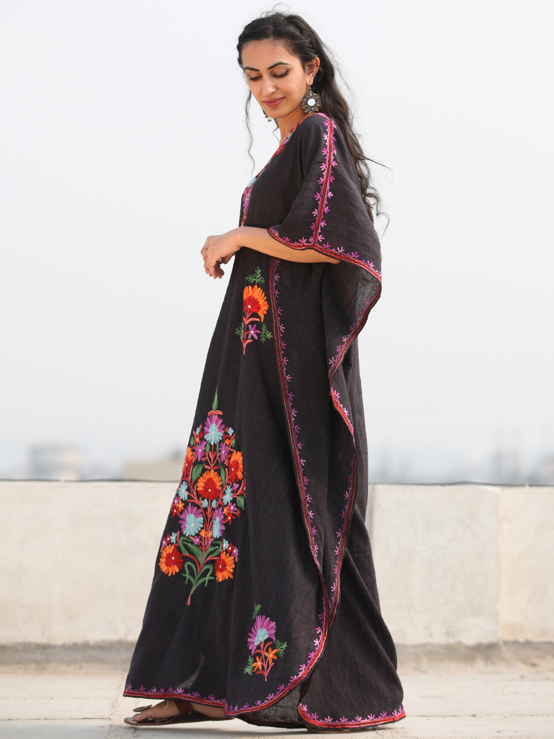 Black MultiColor Aari Embroidered Kashmere Free Size Kaftan in Crushed Cotton - K11K077