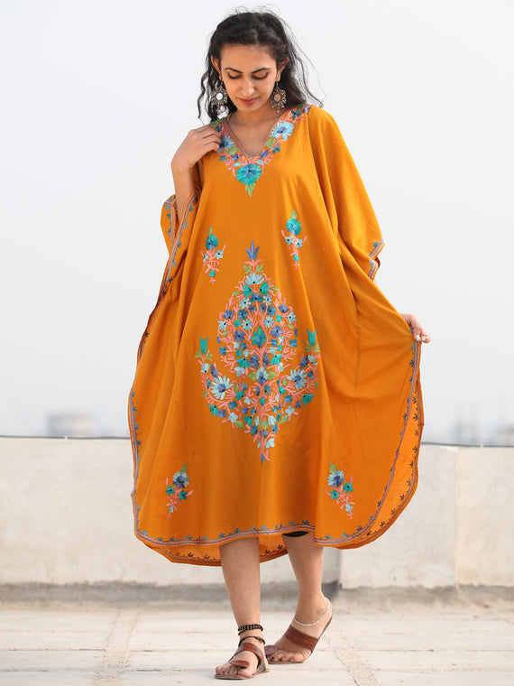 Mustard Multicolor Aari Embroidered Kashmere Free Size Kaftan in Crushed Cotton - K11K078